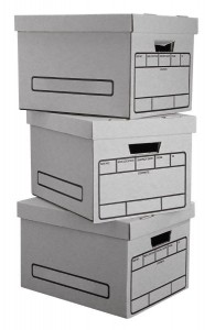 stacked bankers boxes